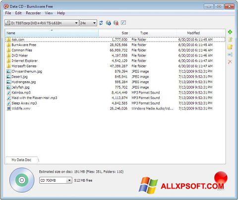 Ekraanipilt BurnAware Free Windows XP