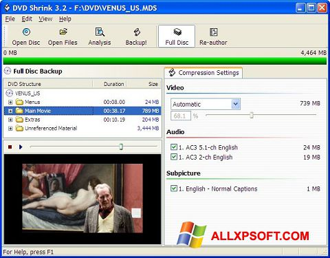 Ekraanipilt DVD Shrink Windows XP