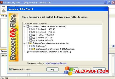 Ekraanipilt Recover My Files Windows XP
