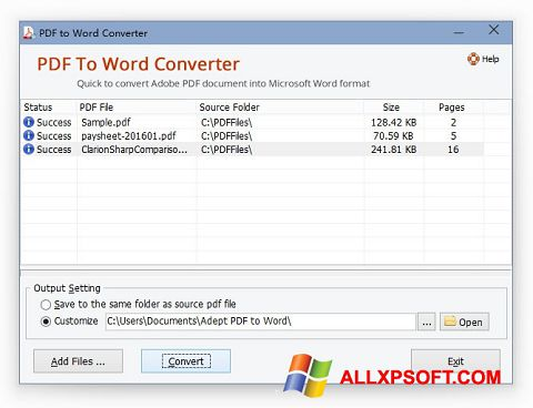 Ekraanipilt PDF to Word Converter Windows XP