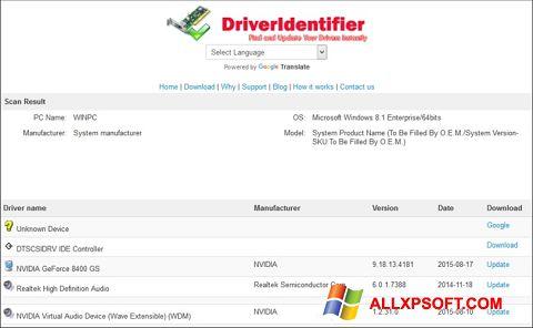 Ekraanipilt Driver Identifier Windows XP