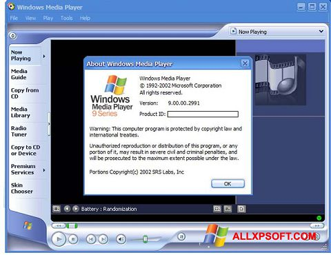 Ekraanipilt Windows Media Player Windows XP