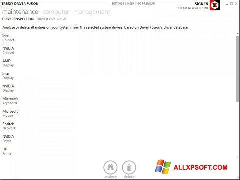 Ekraanipilt Driver Fusion Windows XP
