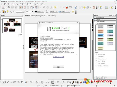 Ekraanipilt LibreOffice Windows XP