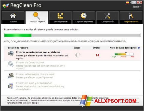 Ekraanipilt RegClean Pro Windows XP