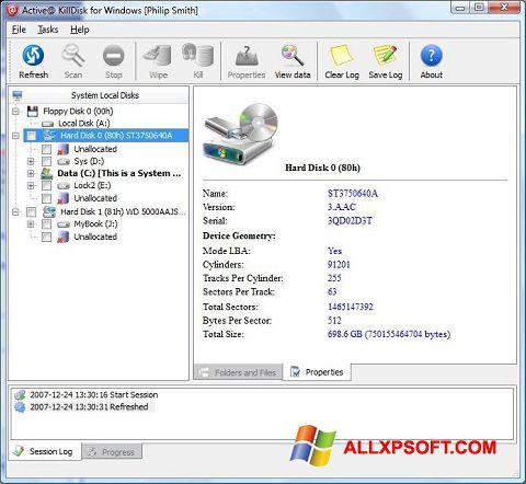 Ekraanipilt Active KillDisk Windows XP