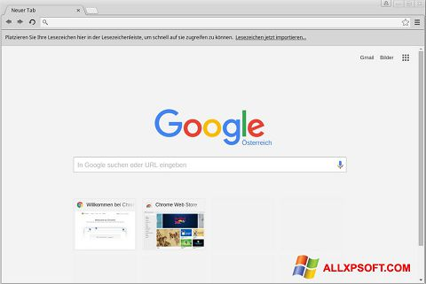 Ekraanipilt Google Chrome Windows XP