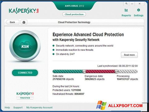Ekraanipilt Kaspersky Windows XP