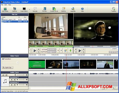 Ekraanipilt VideoPad Video Editor Windows XP