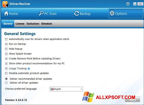 Ekraanipilt Driver Reviver Windows XP
