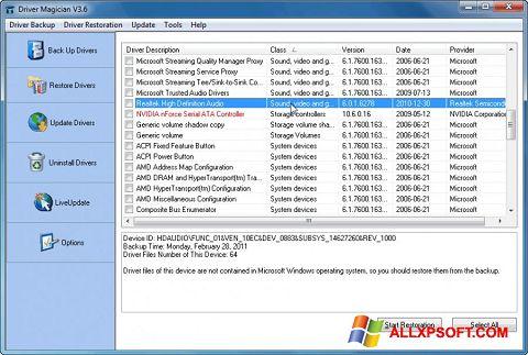 Ekraanipilt Driver Magician Windows XP