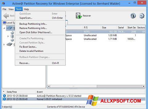 Ekraanipilt Active Partition Recovery Windows XP