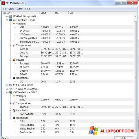 Ekraanipilt HWMonitor Windows XP