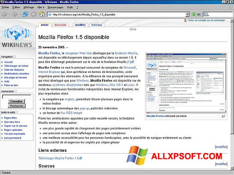 Ekraanipilt Mozilla Firefox Windows XP
