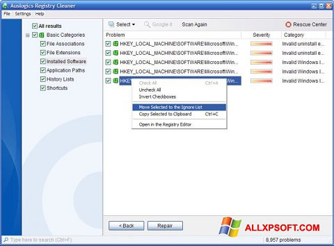 Ekraanipilt Auslogics Registry Cleaner Windows XP