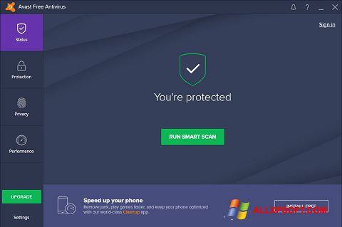 Ekraanipilt Avast Free Antivirus Windows XP
