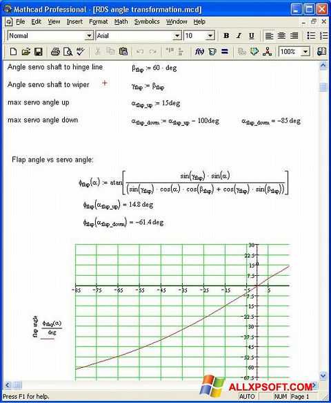 Ekraanipilt MathCAD Windows XP