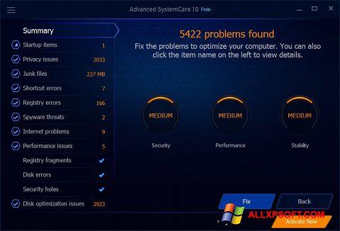 Ekraanipilt Advanced SystemCare Free Windows XP