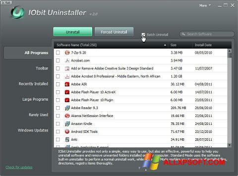 Ekraanipilt IObit Uninstaller Windows XP