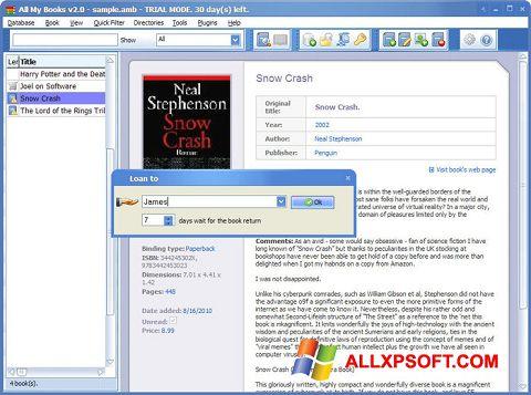 Ekraanipilt All My Books Windows XP