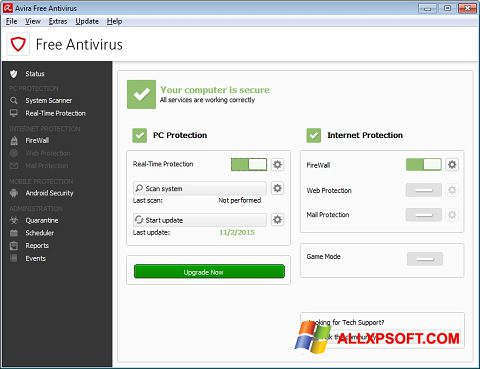 Ekraanipilt Avira Free Antivirus Windows XP