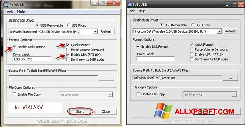 Ekraanipilt PeToUSB Windows XP