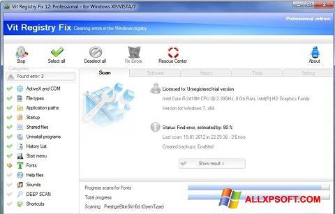 Ekraanipilt Vit Registry Fix Windows XP