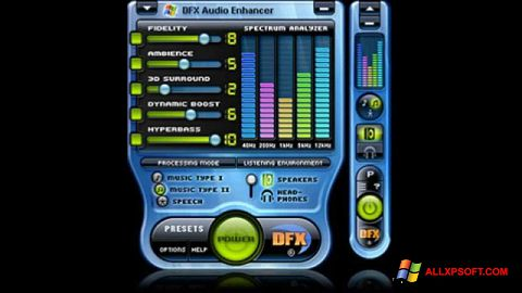 Ekraanipilt DFX Audio Enhancer Windows XP