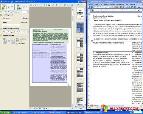 Ekraanipilt ABBYY PDF Transformer Windows XP