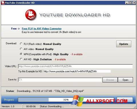 Ekraanipilt Youtube Downloader HD Windows XP
