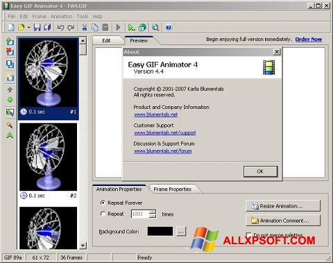 Ekraanipilt Easy GIF Animator Windows XP