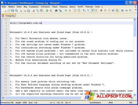 Ekraanipilt Notepad++ Windows XP