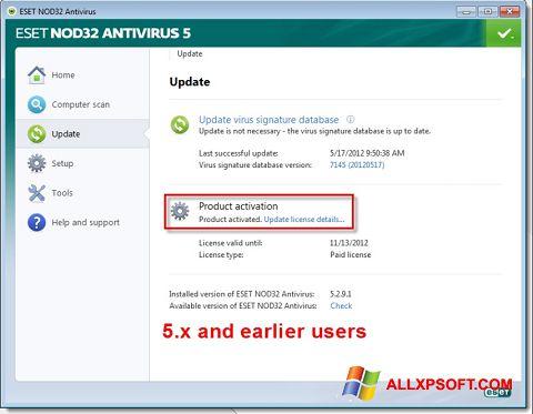 Ekraanipilt ESET NOD32 Windows XP