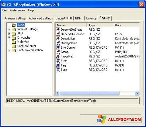 Ekraanipilt TCP Optimizer Windows XP